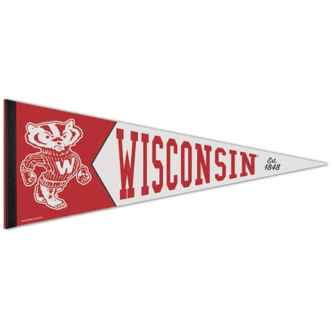 Wisconsin Badgers Retro Logo Premium Pennant Felt Wool NEW!! Free Shipping