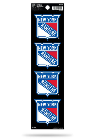 New York Rangers Set of 4 Decals Stickers The Quad by Rico 2x2 Inches