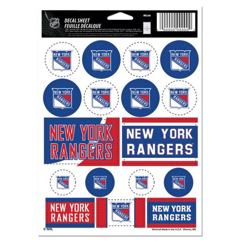 New York Rangers Vinyl Sticker Sheet 17 Decals 5x7 Inches
