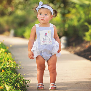 Haute Baby Sail Away Baby and Toddler Girl Ruffle Bubble Sunsuit on Model