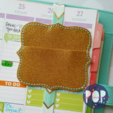 Digital Download - Scallop Square Clip Keeper Planner Band - in the hoop machine embroidery