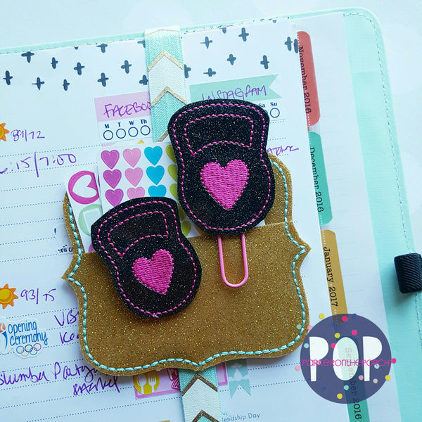 Digital Download- Kettle Ball Planner Clip & Feltie Set - in the hoop machine embroidery