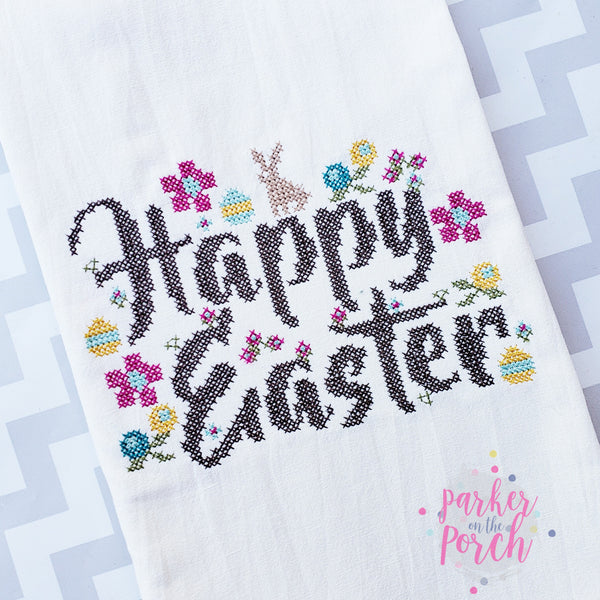 Digital Download- Happy Easter Cross Stitch Fill - in the hoop machine embroidery