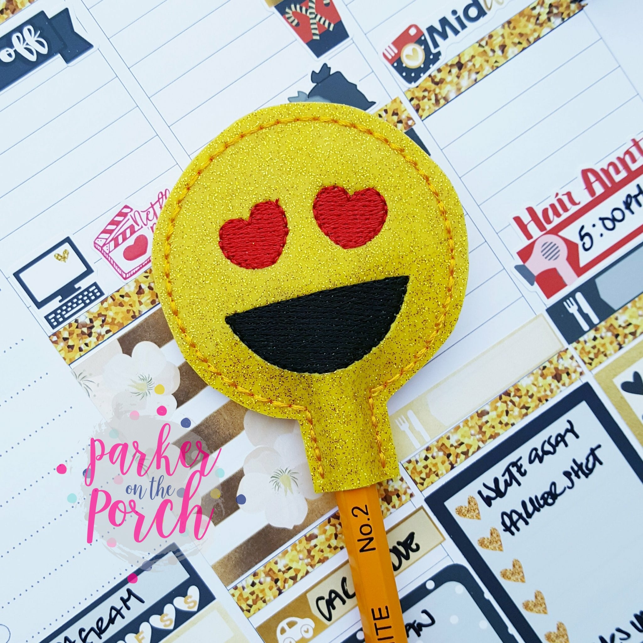 Digital Download- Emoji Pencil Topper - in the hoop machine embroidery