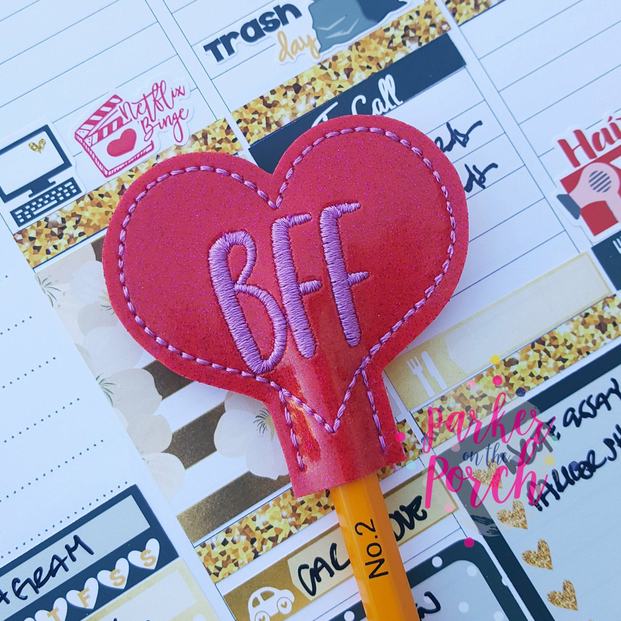 Digital Download- BFF Heart Pencil Topper - in the hoop machine embroidery