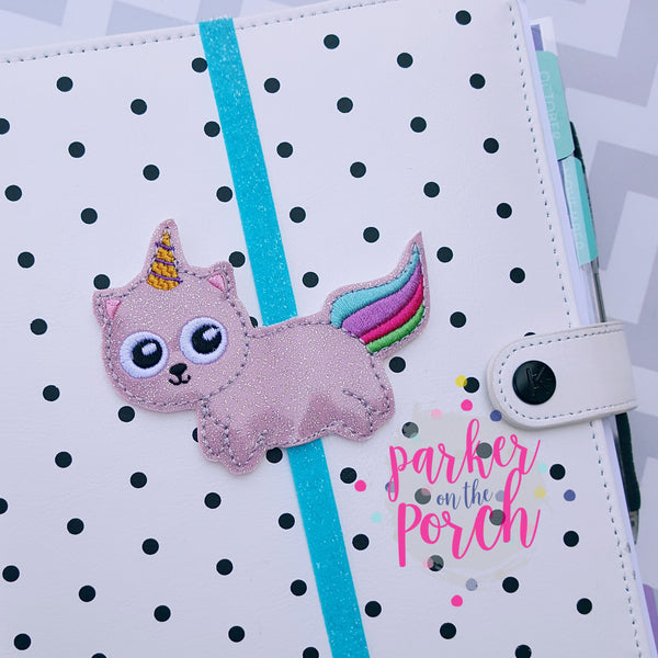 POP- Unicorn Kitty Planner Band - in the hoop machine embroidery