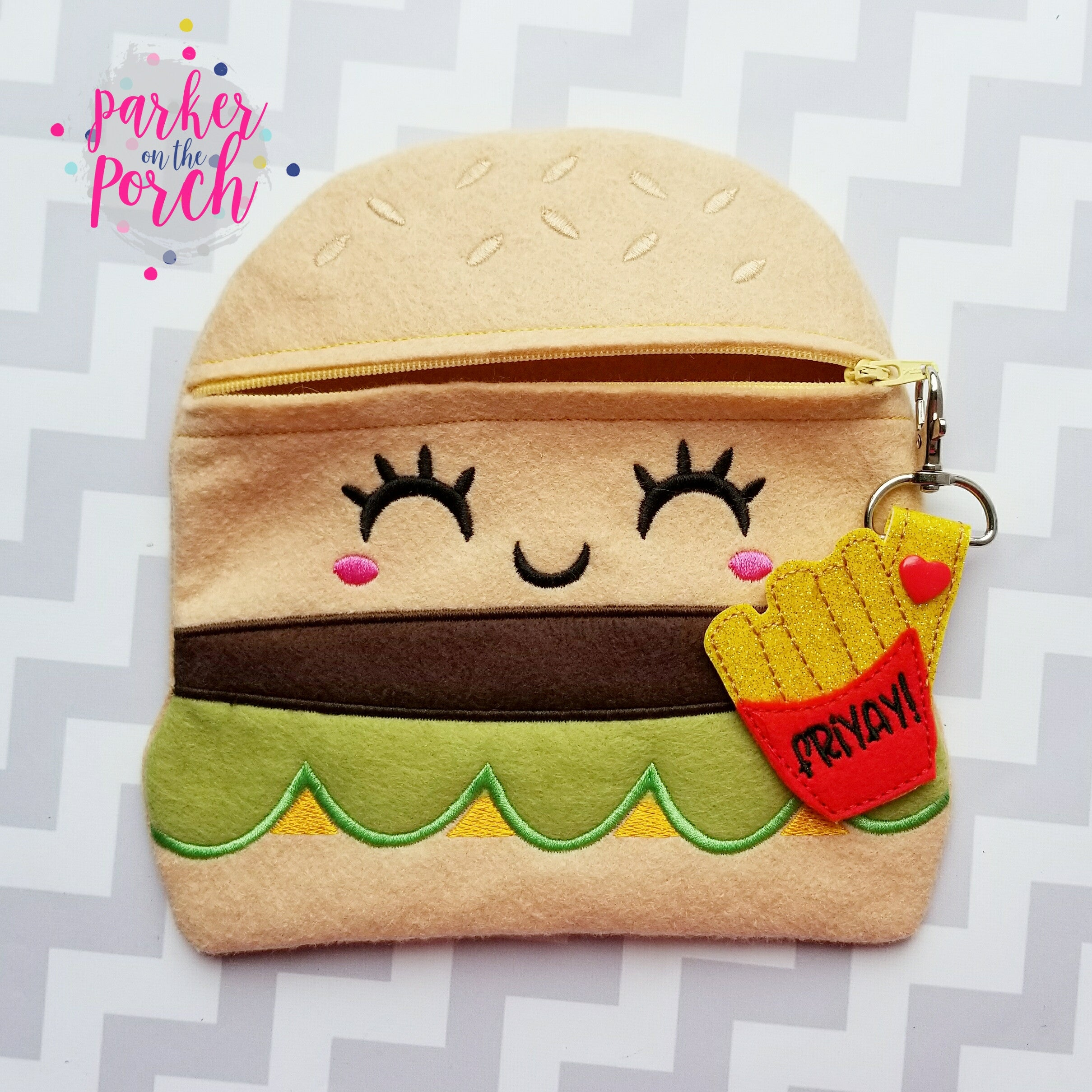 Digital Download- Cheeseburger Zipper Bag - in the hoop machine embroidery