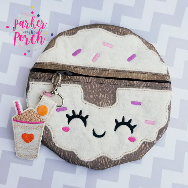 Digital Download- Donut Zipper Bag - in the hoop machine embroidery
