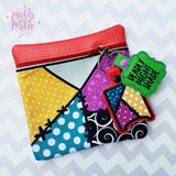 Digital Download- Magical Patchwork Zipper Bag - in the hoop machine embroidery