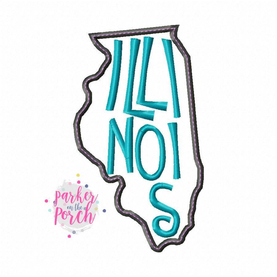 Digital Download- Home State Illinois Embroidery Fill - in the hoop machine embroidery