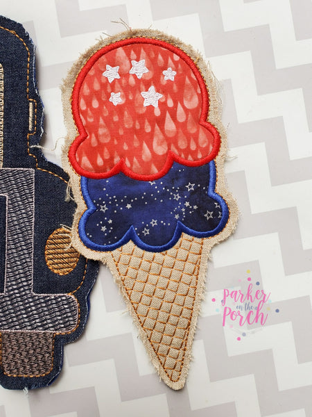 Digital Download- Ice Cream Cone Banner - in the hoop machine embroidery
