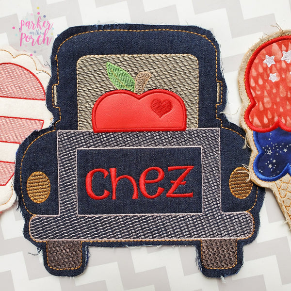 Digital Download- Apple Truck Banner - in the hoop machine embroidery