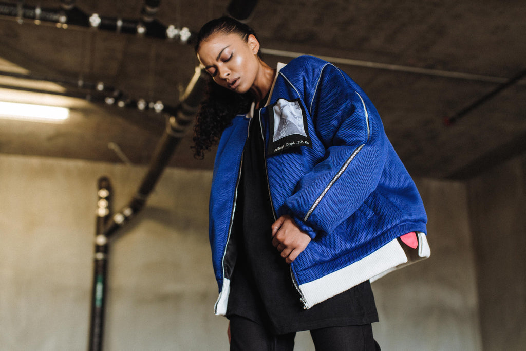 Piped Mesh Bomber Jacket