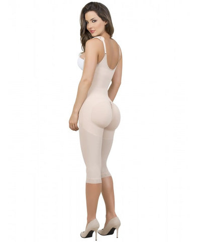 Maria E Post Surgery Braless Capri Bodysuit Shaper, Beige