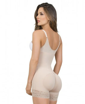 Maria E Post Surgery Thigh Slimmer Braless Bodysuit, Beige
