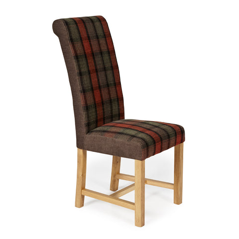 Greenwich Dining Chair in Brown Tartan (2 Chairs Included)