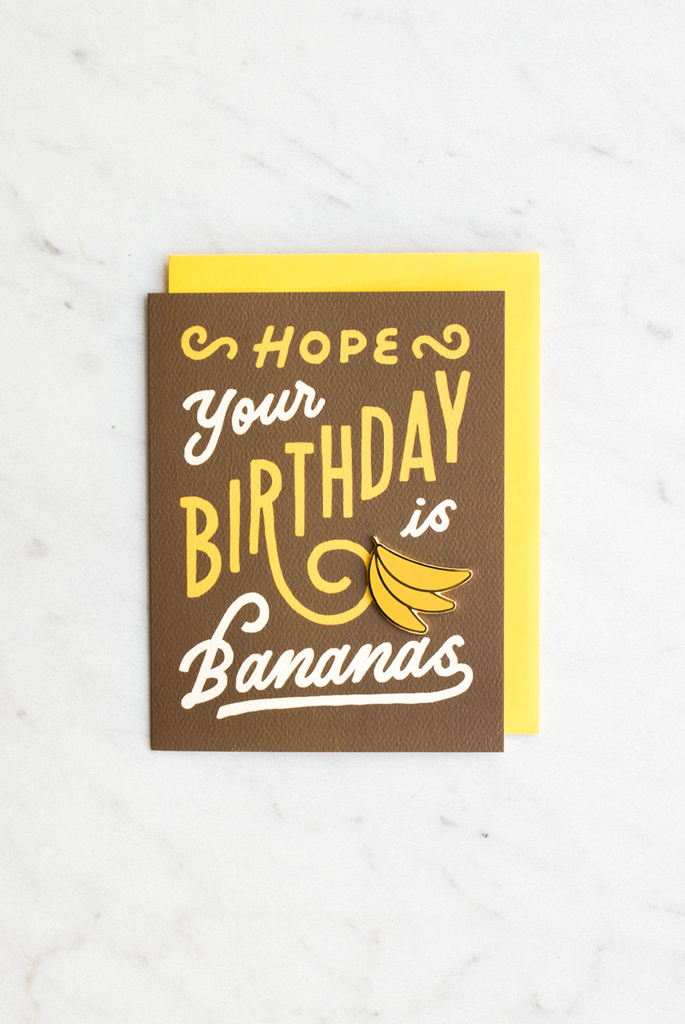 Bananas Birthday Enamel Pin Card