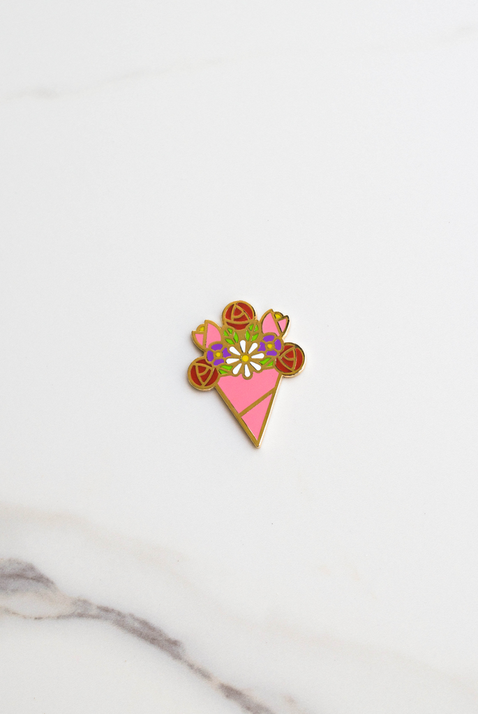 Birthday Flowers Enamel Pin Card