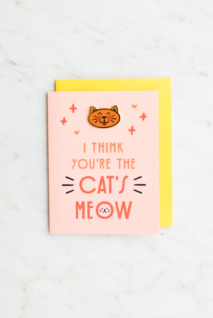 Cat's Meow Enamel Pin Card