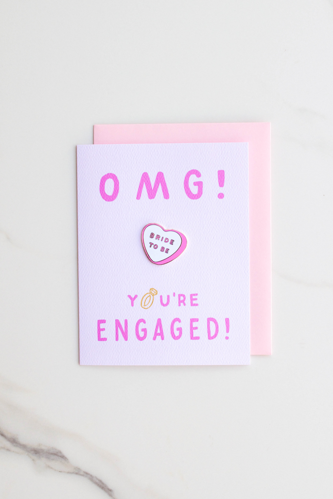 OMG Bride to Be Enamel Pin Card