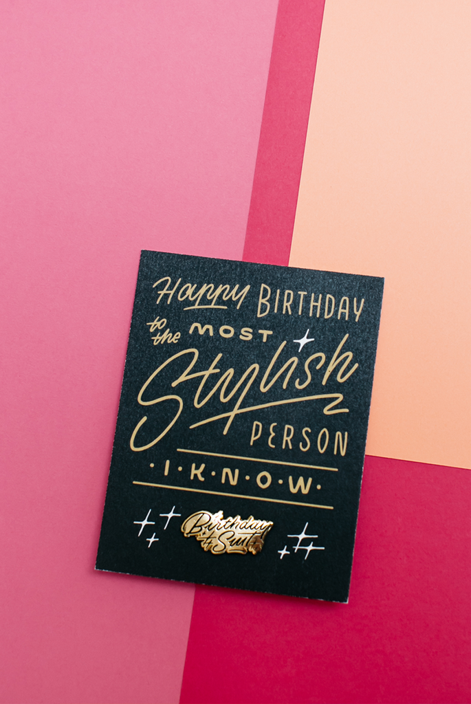 Birthday Suit Enamel Pin Card