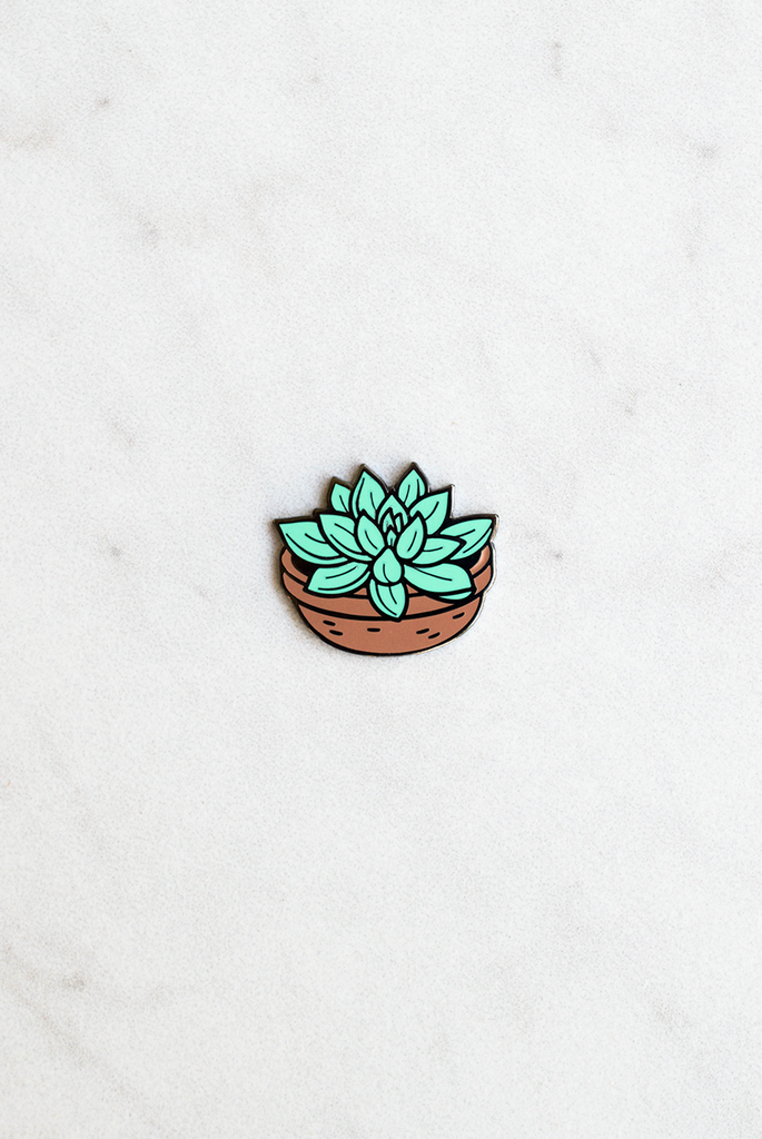 Succulent Birthday Enamel Pin Card