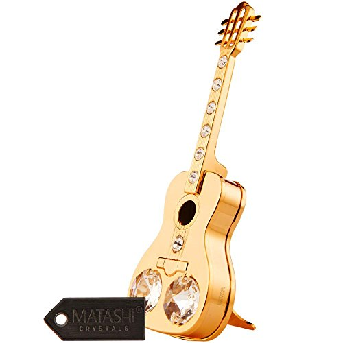 24K Gold Plated Acoustic Guitar Ornament Made with Genuine Matashi Crystals