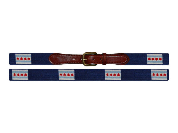Smathers & Branson Needlepoint Belt- Chicago Flag