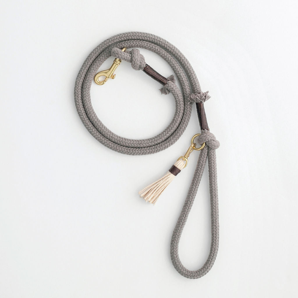 Stone Grey Organic Cotton Rope Dog Leash