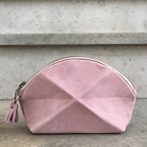 Pyramid cosmetic bag - Pink suede