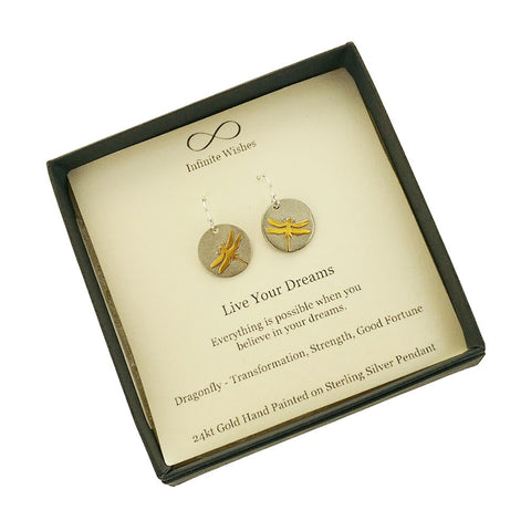 Live Your Dreams Dragonfly Earrings In Gift Box