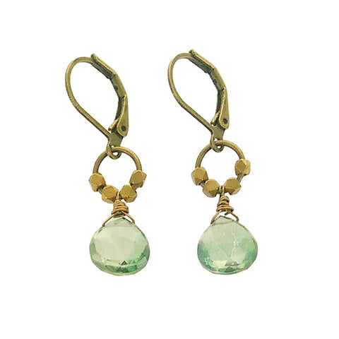 Edgy Petal Green Quartz Drop Nugget Earrings