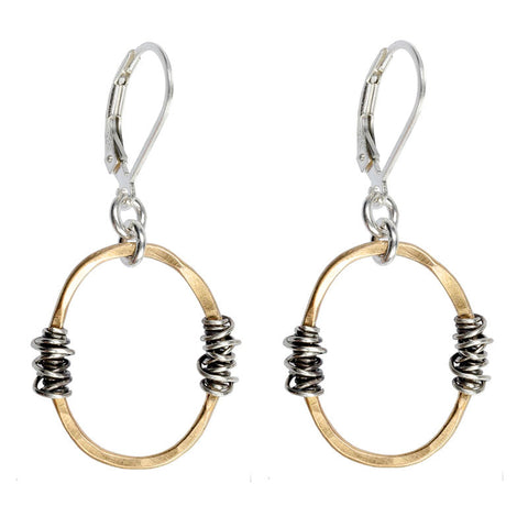 J & I Hammered Oval Wire Wrap Earrings