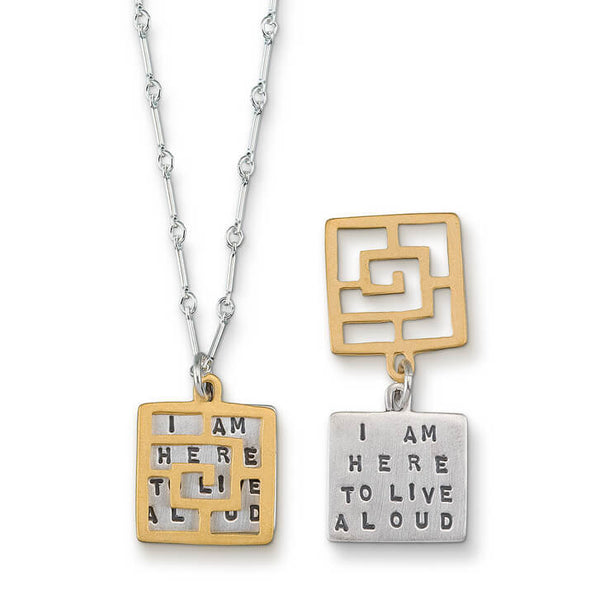 "Kathy Bransfield ""I Am Here To Live Aloud"" Quote Necklace"