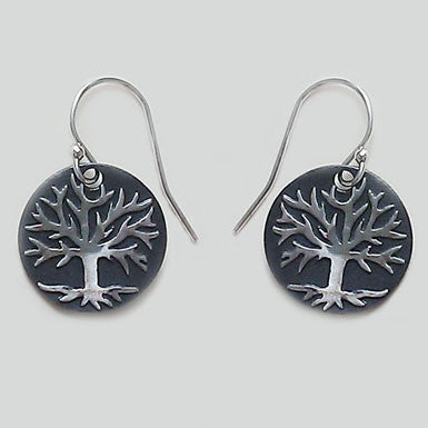 Tree of Life Black Patina Earrings