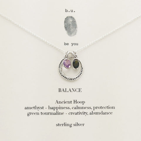b.u. Balance Necklace Amethyst  Green Tourmaline On Quote Card