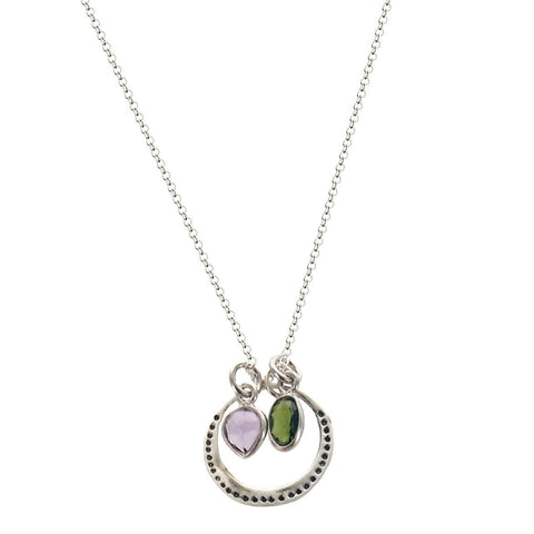 b.u. Balance Necklace with Amethyst and Green Tourmaline