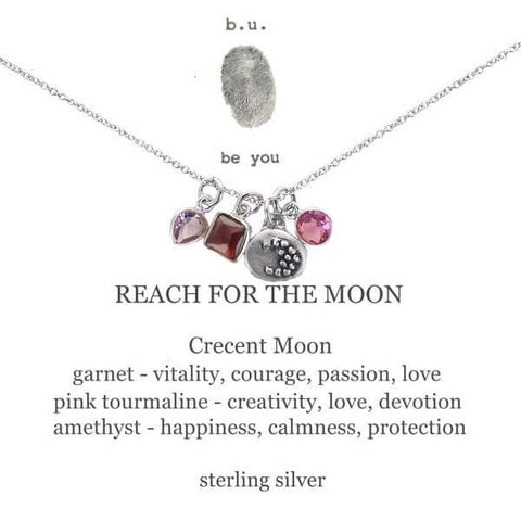 b.u. Reach for the Moon Necklace on Quote Card