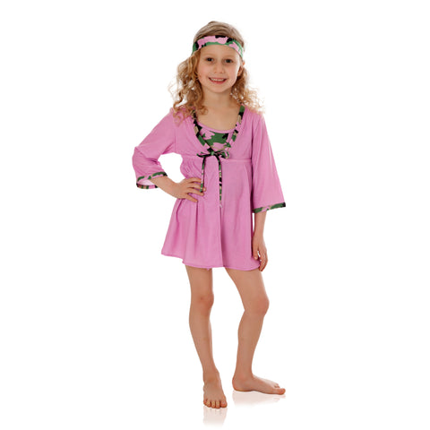 FASTEN girls cover up with UPF 50+ sun protection built right in! Rose cover up with camo trim. Tie-front cover up with magnetic closure. Camo cover up for girls. Adorable and great for those sunny or cooler beach days!