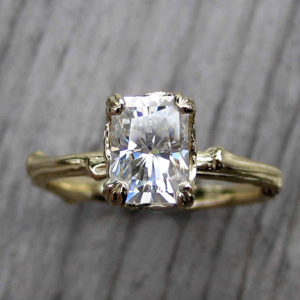 Radiant Moissanite Twig Engagement Ring, Kristin Coffin