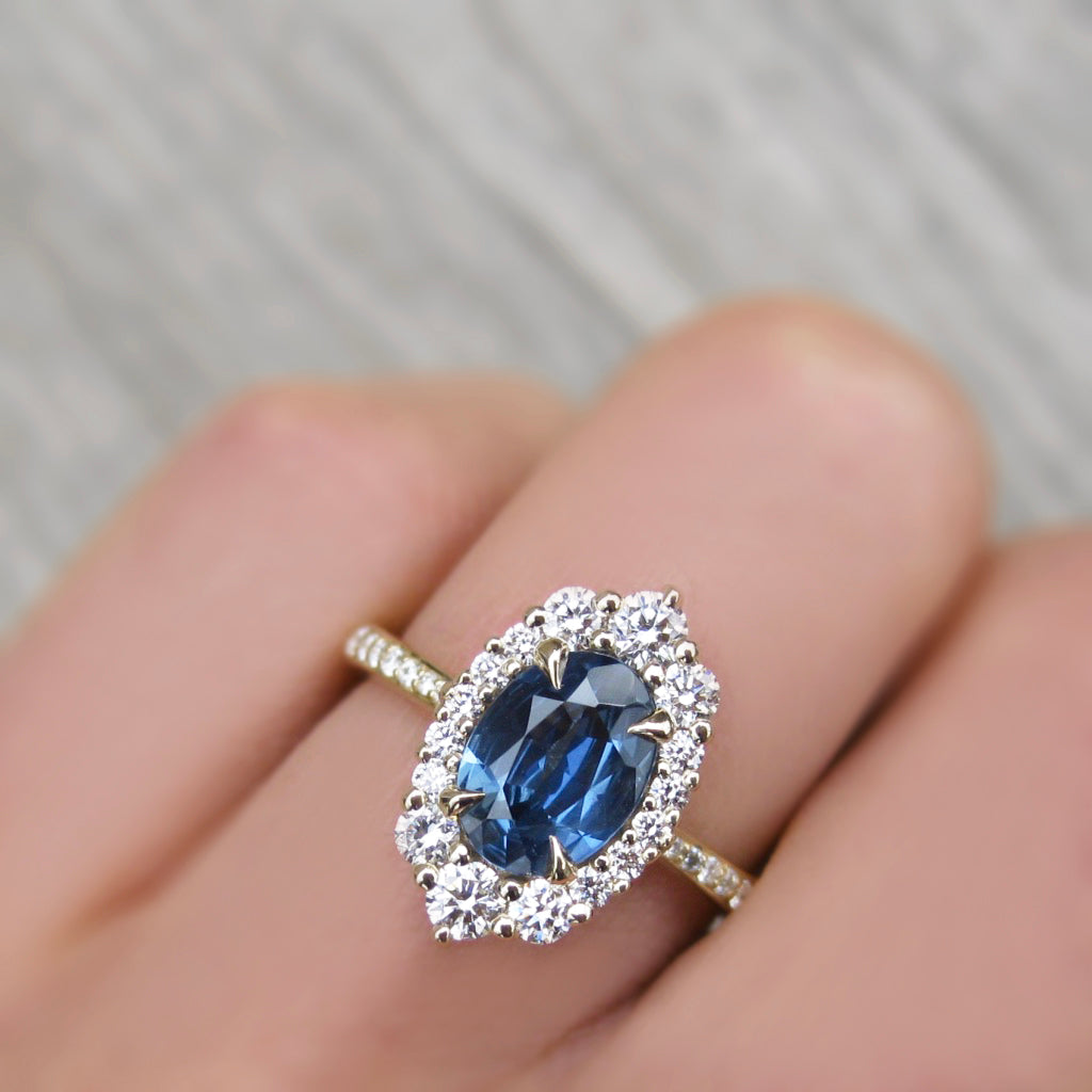 <center><strong>・SOFIA・</strong><br></center>Oval Montana Sapphire, Diamond Halo & Band (1.69ct+)