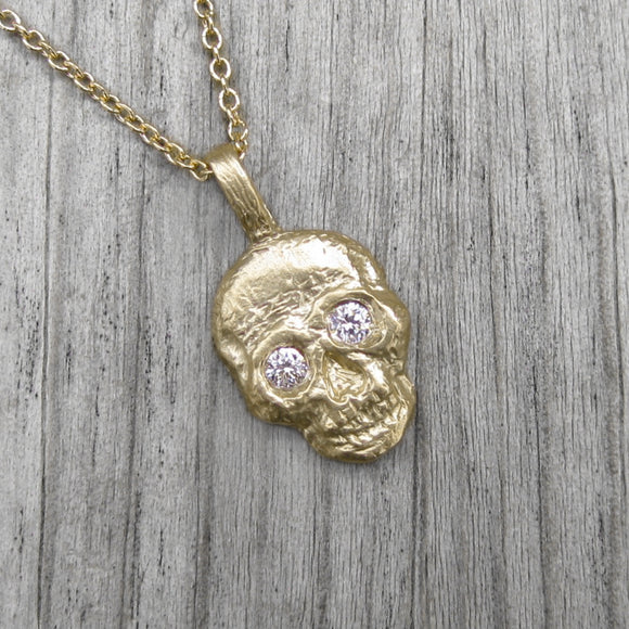 <center><strong>・SKULL NECKLACE・</strong><br></center> Diamond Eyes, Gold Pendant (Ready to Ship)
