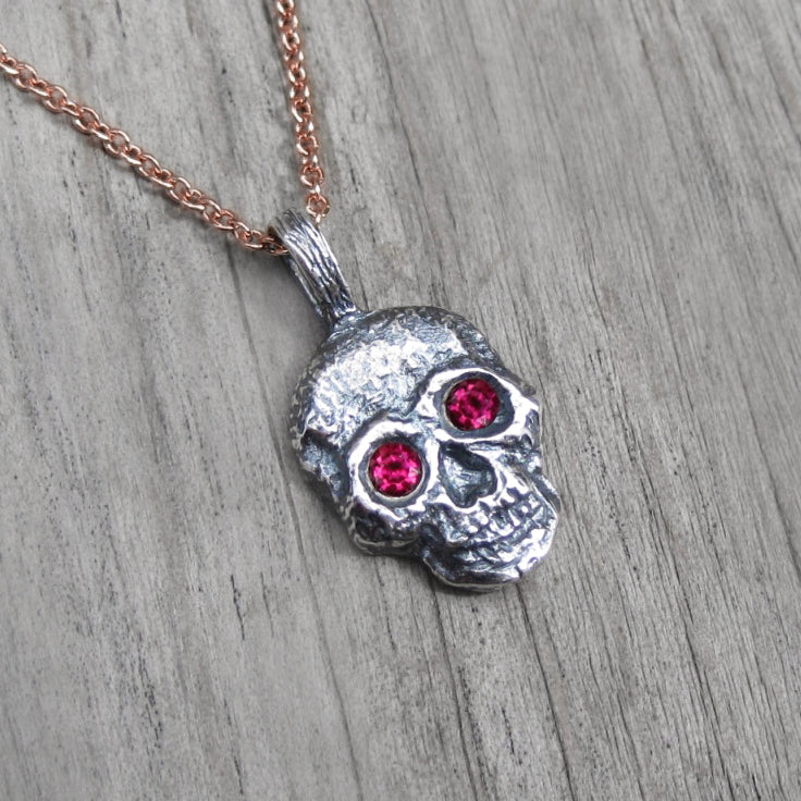 <center><strong>・SKULL NECKLACE・</strong><br></center> Ruby Eyes, Silver Pendant (Ready to Ship)