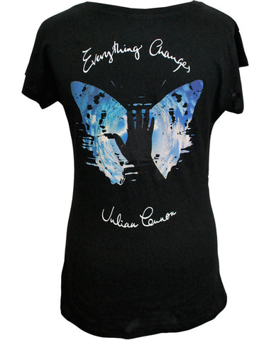 Julian Lennon (EC Album Cover with Text) Black Scoop Neck T-Shirt