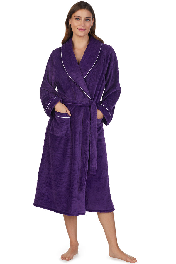 Sculpted Rose Wrap Robe - Plum