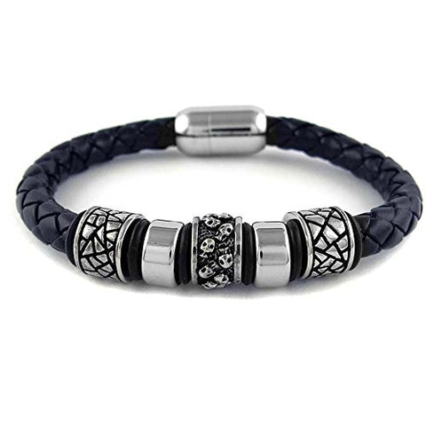 Ben & Jonah Braided Black Faux Leather and Stainless Steel Bracelet with Stainless Steel Skulls Gothic Beads and Magnetic Lock (8.5 inch  L)