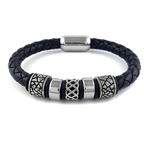 Ben & Jonah Braided Brown Faux Leather and Stainless Steel Bracelet with Stainless Steel Gothic Beads and Magnetic Lock (8.5 inch  L)