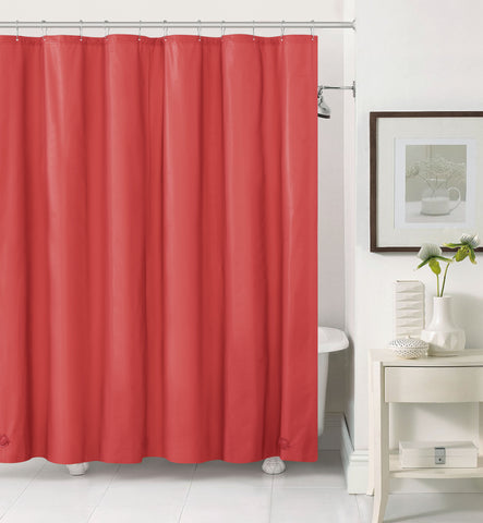 "Royal Bath 2 in 1 Fabric Front Shower Curtain with Peva Non-Toxic Liner Backing - Red (72"" x 72"")"