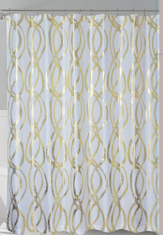 White/Gold Metallic Sparks Faux Silk Fabric Shower Curtain with Roller Hooks