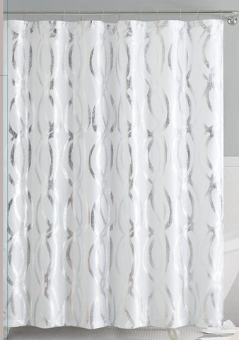 White/Silver Metallic Sparks Faux Silk Fabric Shower Curtain with Roller Hooks